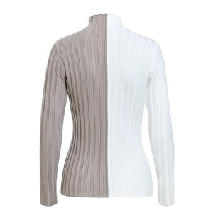 Two Tone Turtleneck Knitted Shirt