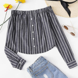 Striped Button-Up Off-Shoulder