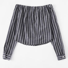 Load image into Gallery viewer, Striped Button-Up Off-Shoulder