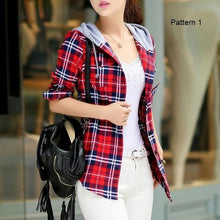 Load image into Gallery viewer, Plaid Zip-Up Hooded Shirt