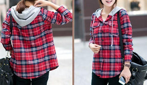 Plaid Zip-Up Hooded Shirt