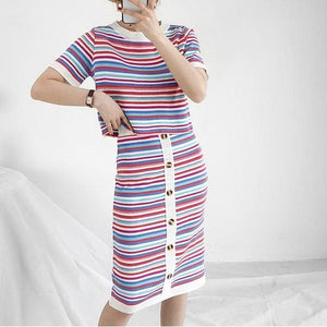 Striped T-Shirt & Button-Up Bodycon Skirt (2 Piece Set)