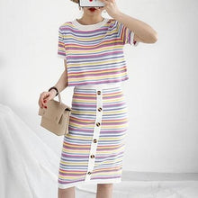 Load image into Gallery viewer, Striped T-Shirt & Button-Up Bodycon Skirt (2 Piece Set)