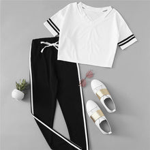 Load image into Gallery viewer, Striped V-Neck T-Shirt & Elastic Waist Pants (2 Piece Set)