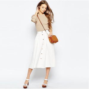 High Waist Button-Up Midi Skirt