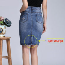Load image into Gallery viewer, Shredded Pencil Denim Skirt