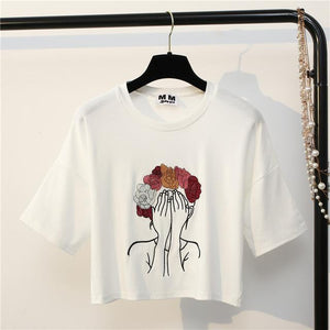Character Embroidery Crop T-Shirt