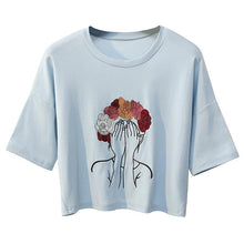 Load image into Gallery viewer, Character Embroidery Crop T-Shirt