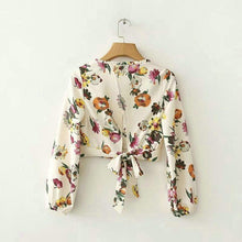 Load image into Gallery viewer, Floral Bow Tie Crop Blouse