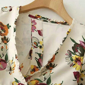 Floral Bow Tie Crop Blouse