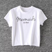 Load image into Gallery viewer, 'Mermaids Are Real' Crop T-Shirt