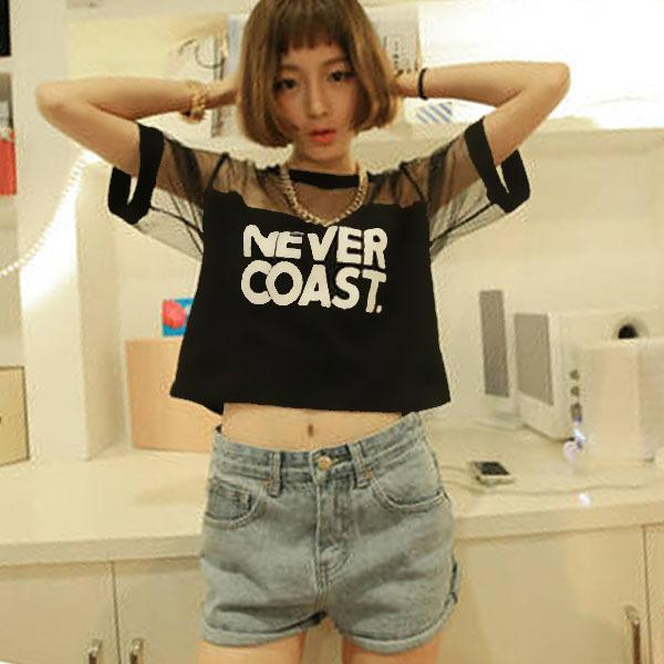 'NEVER COAST' Mesh Patchwork Crop T-Shirt