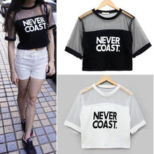 Load image into Gallery viewer, 'NEVER COAST' Mesh Patchwork Crop T-Shirt