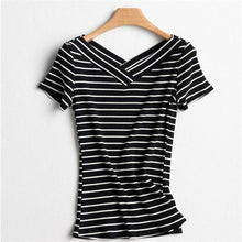 Load image into Gallery viewer, Striped V-Neck T-Shirt