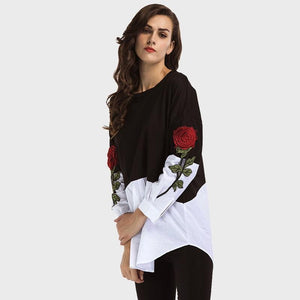 Two Tone Rose Embroidery Shirt