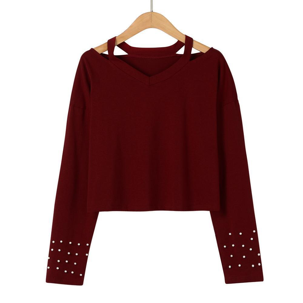 Beaded Long Sleeve V-Neck Shirt