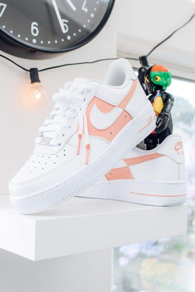 """50/50"" Light Pink Custom Air Force 1"