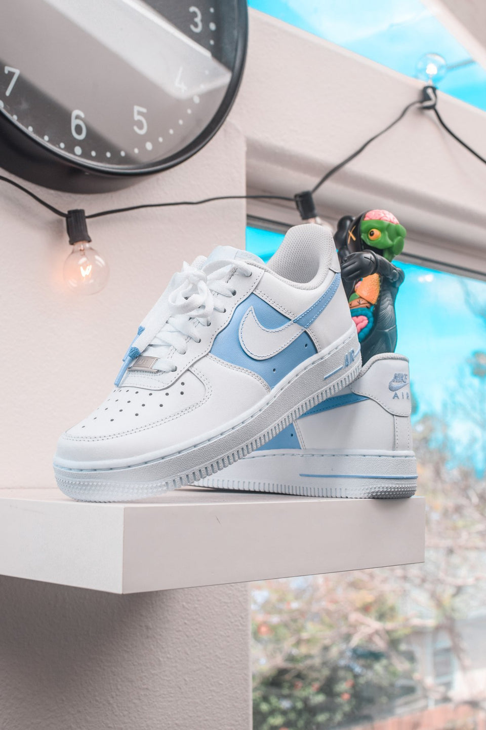 """50/50"" Pastel Blue Custom Air Force 1 - Sandez Official"