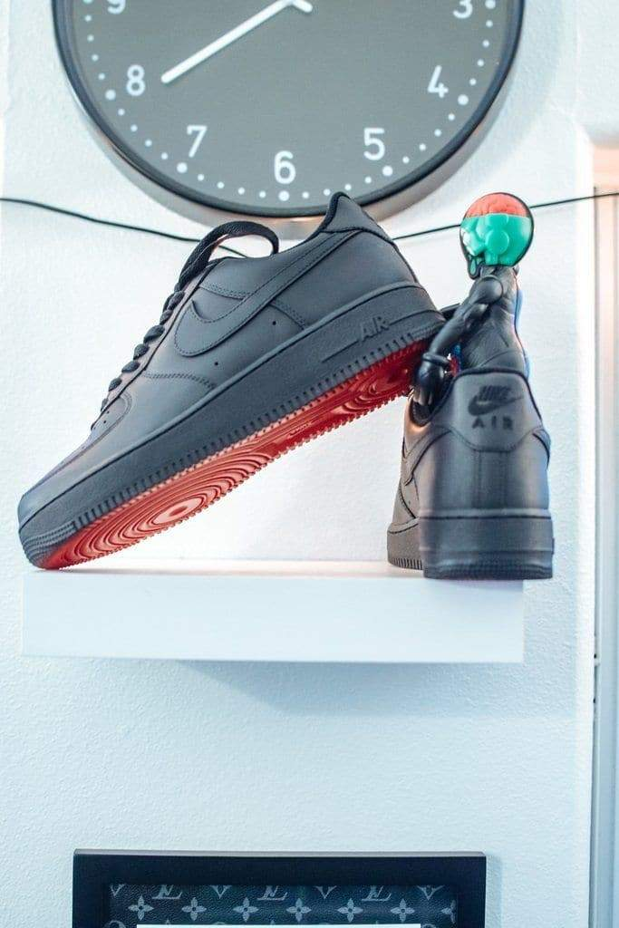 """Red Bottom"" Matte Black Custom Air Force 1 - Sandez Official"