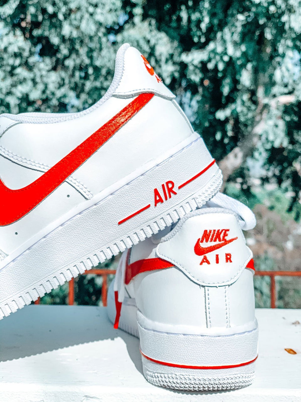"Red ""Swoosh"" Custom Air Force 1 - Sandez Official"