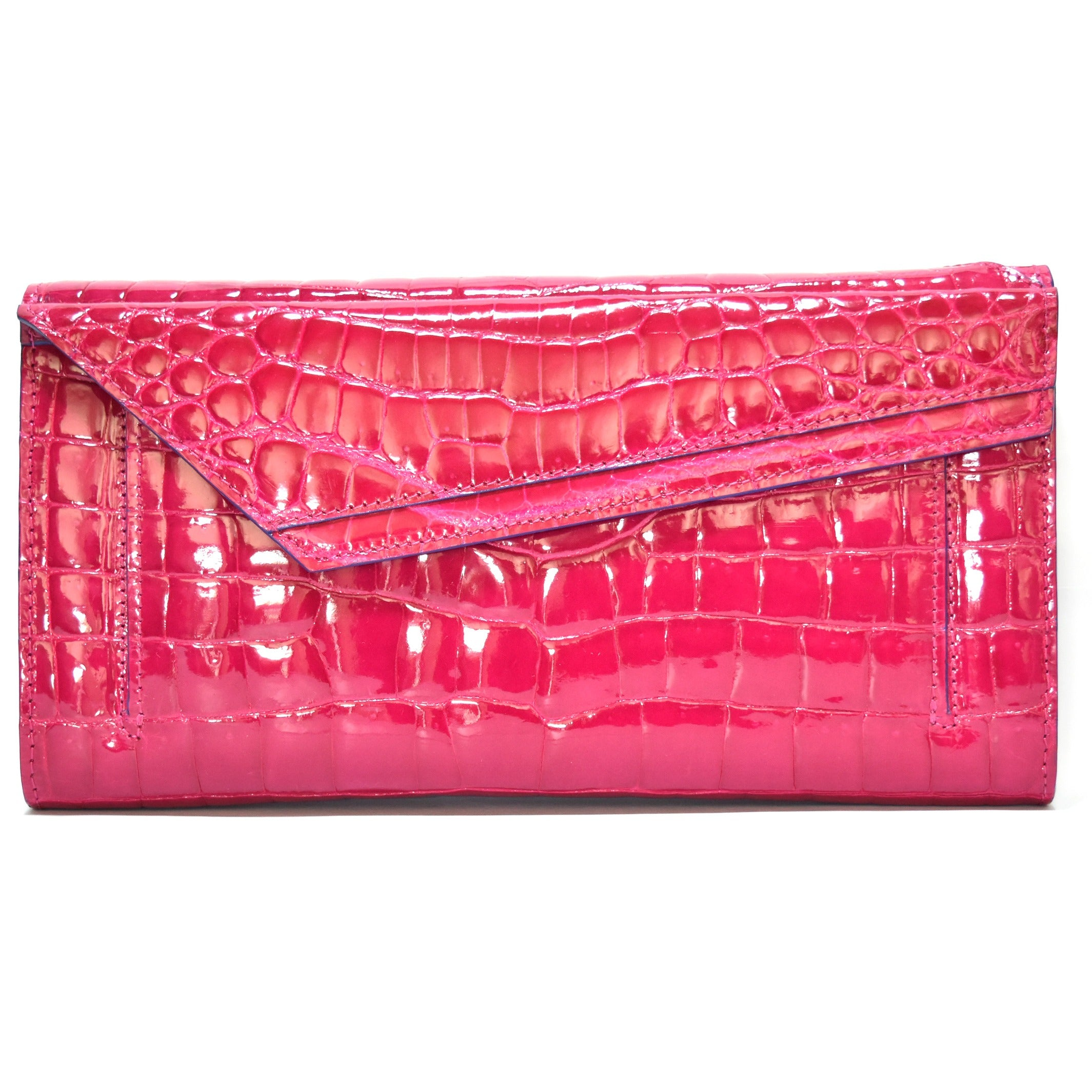 Karina, shiny red croco clutch bag