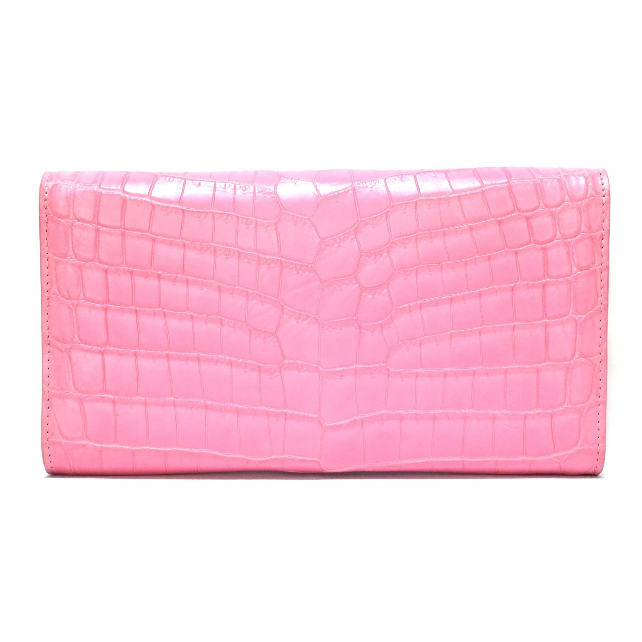 Sheryl Matte Pink Croco Clutch with 18k Rose Gold