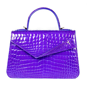 Kate Pochette in shiny purple blue crocodile leather