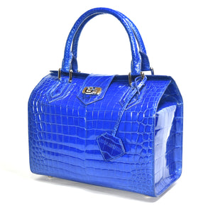 Madeline in shiny electric blue Niloticus crocodile leather