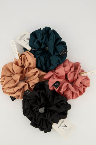 Oh so Matte! Satin Scrunchie - Combo Deal; Black, Teal, Rose Pink by & Champagne
