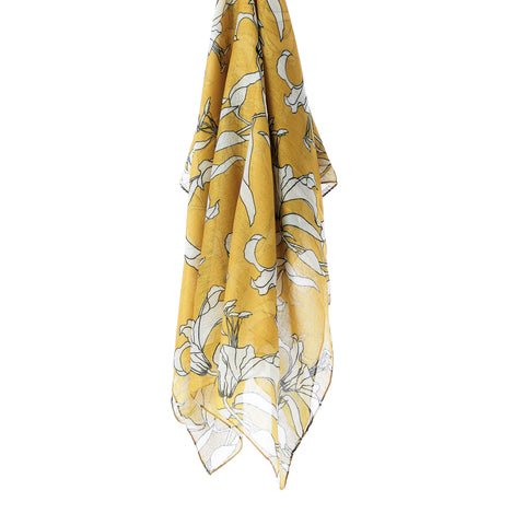 Printed Cotton Scarf - Golden