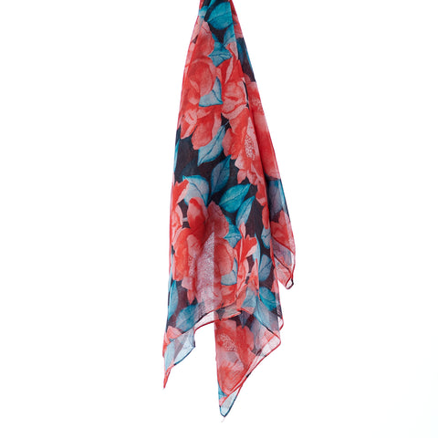 Printed Cotton Scarf - Ruby