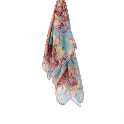 Printed Cotton Scarf - Blushing Skies