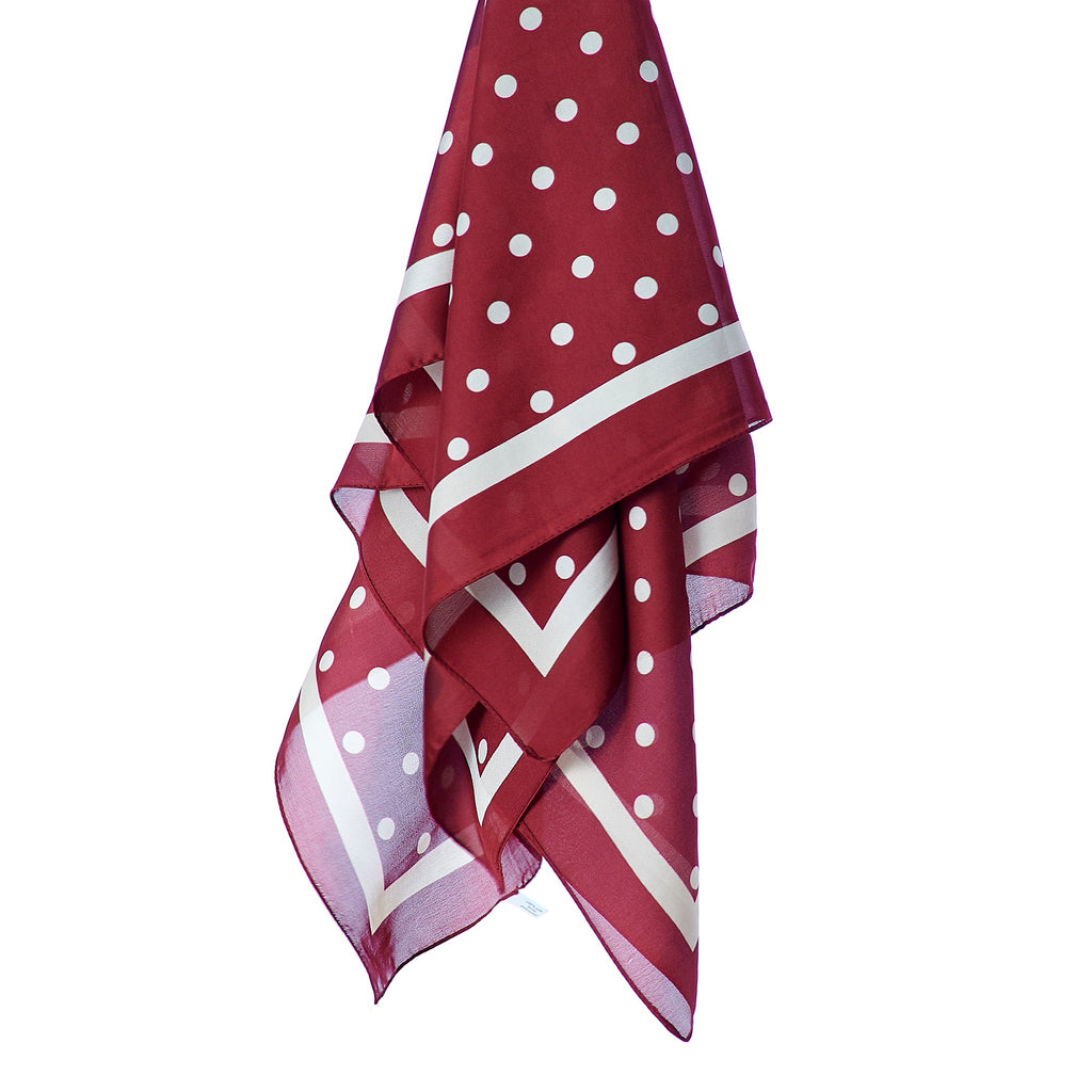 Nura Online Store - Satin Square Scarf - Burgundy and White Polka Dot