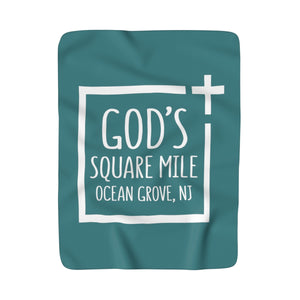 God's Square Mile Sherpa Fleece Blanket: Teal - GoGannon Designs