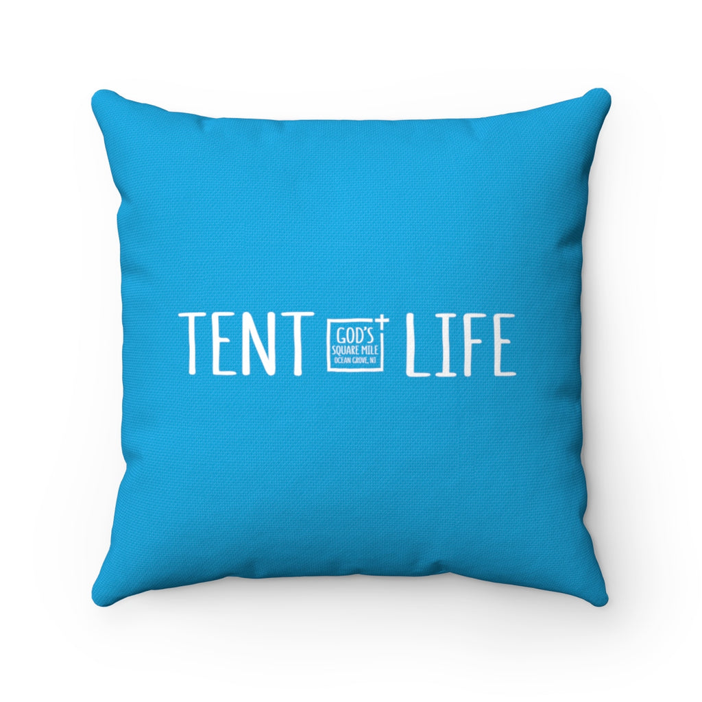 Tent Life Pillow: Bright Blue