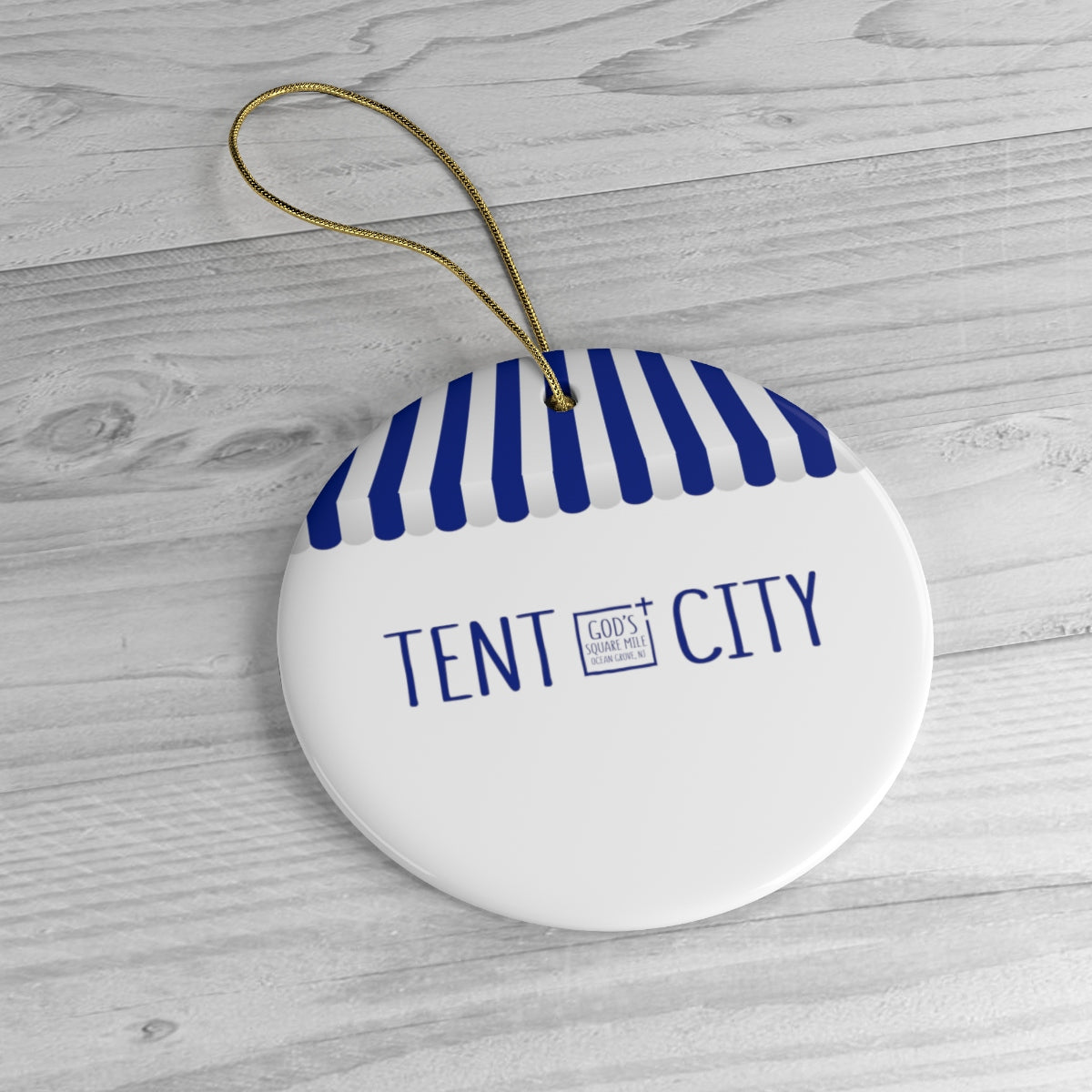 Tent City Ceramic Christmas Ornament: Blue and White Stripe