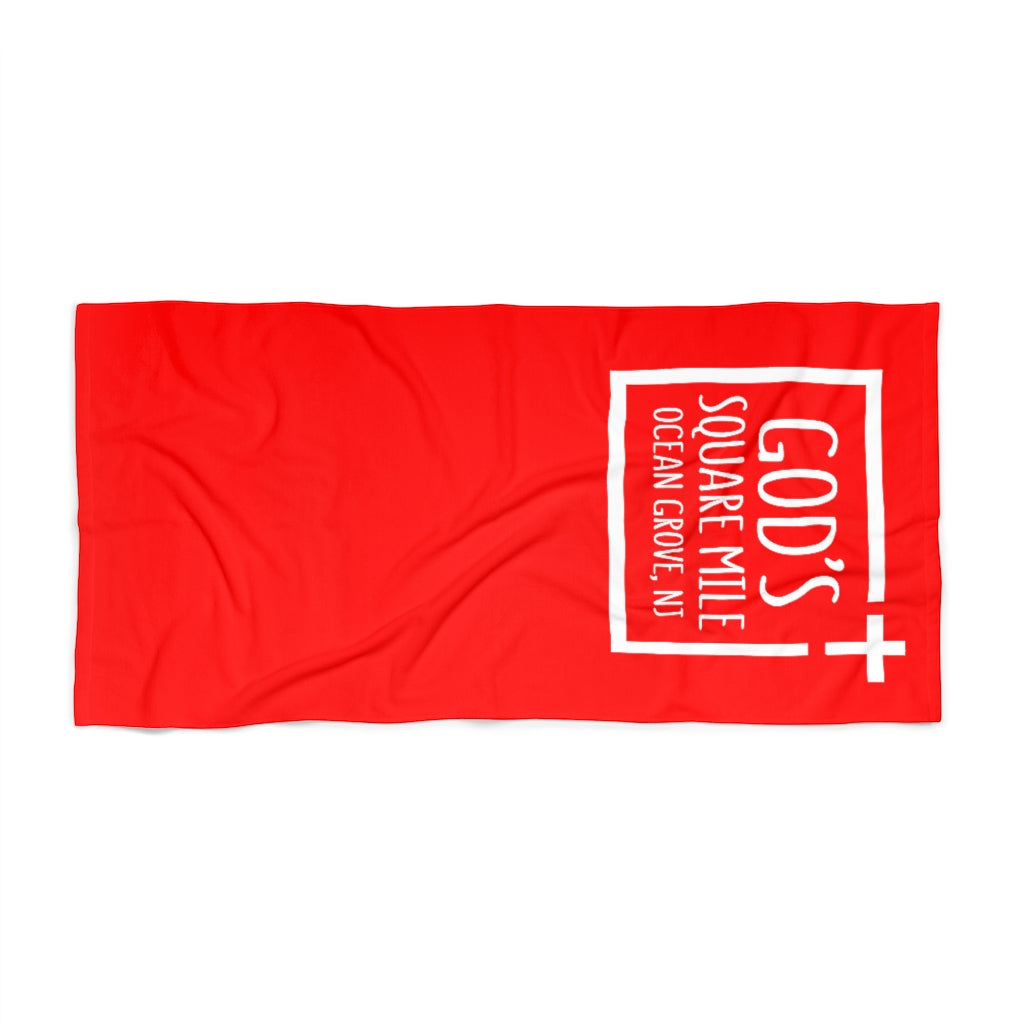 God's Square Mile Beach Towel: Red