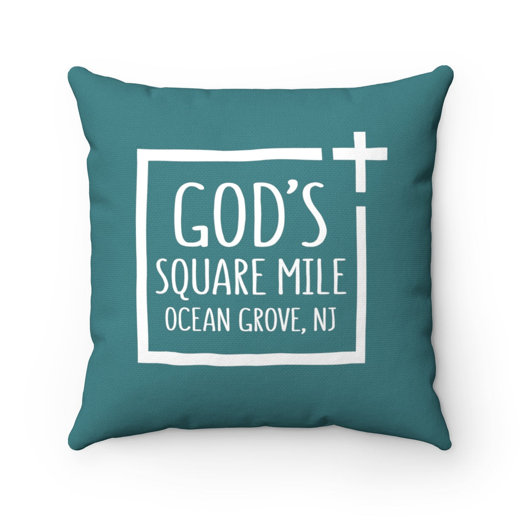 God's Square Mile Pillow: Teal - GoGannon Designs