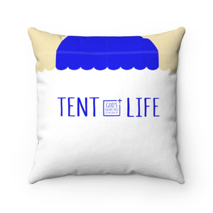 Tent Life Awning Pillow: Tan & Bright Blue