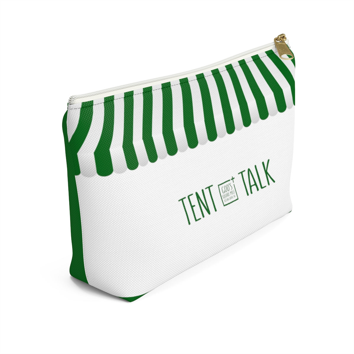 Tent Talk Accessory Bag: Green and White Stripe