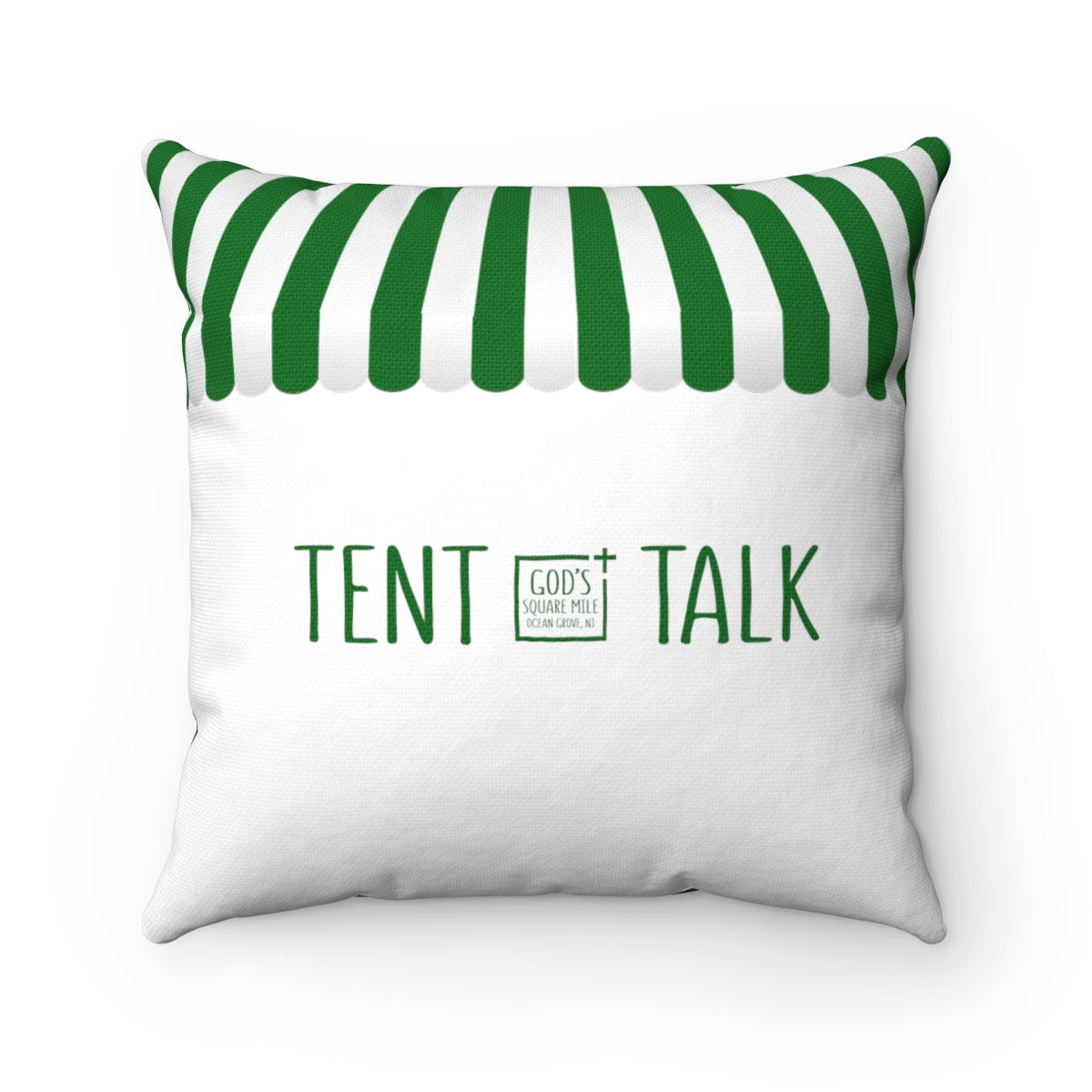 Tent Talk Pillow: Green and White Stripe