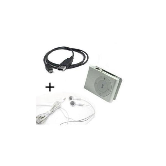 Reproductor Mp3 Mini Clip + Audífonos Y Cable Usb - Arca Electrónica
