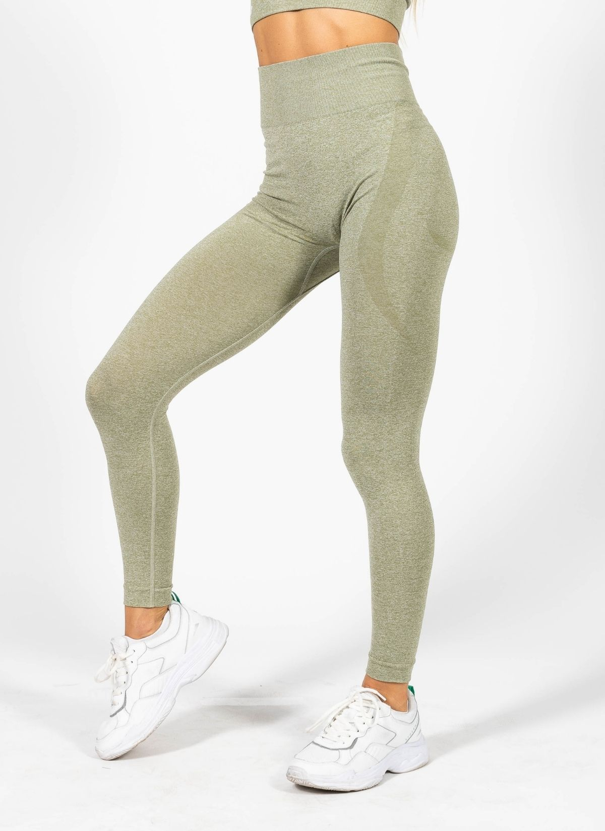 Power Gathered Seamless Green Leggings