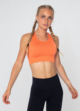 Surge Seamless Orange Sports Bra - Athlete Body