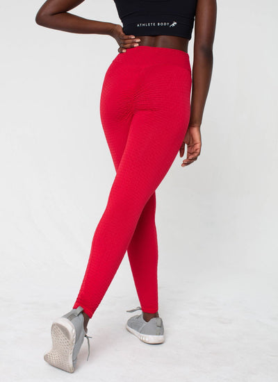 Impact Cellulite-Friendly Seamless Red Leggings - Athlete Body