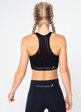 Peak Seamless Black Sports Bra - Athlete Body