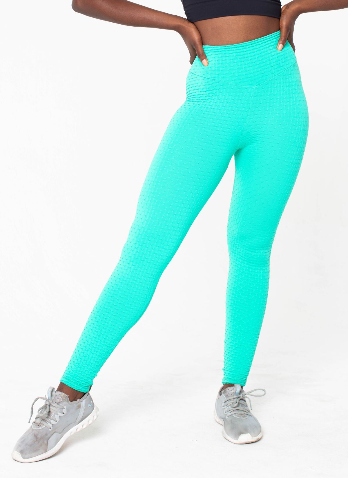 Impact Cellulite-Friendly Seamless Tropical Blue Leggings - Athlete Body