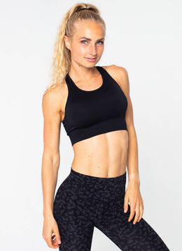 Surge Seamless Black Sports Bra - Athlete Body