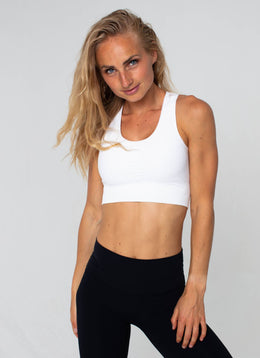Bolt Seamless White Sports Bra - Athlete Body