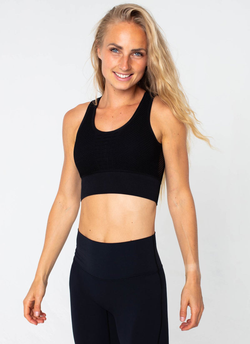 Bolt Seamless Black Sports Bra